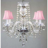 "Swarovski Crystal Trimmed Chandelier All Crystal Chandelier With Pink Shades H17"" X W17"" Swag Plug In-Chandelier W/ 14' Feet Of Hanging Chain And Wire - A46-B15/Pinkshades/275/4 Sw"