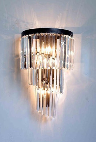 Retro Palladium Crystal Glass Fringe Helix 3 Tier Spiral Wall Sconces - A7-1100/4