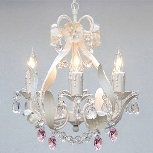 White Iron Crystal Flower Chandelier Lighting W/ Pink Crystal HeartsSwag Plug In-Chandelier W/ 14' Feet Of Hanging Chain And Wire - Perfect For Kid'S And Girls Bedroom - A7-B17/B21/White/326/4