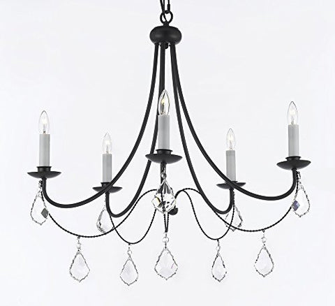 "Empress Crystal (Tm) Wrought Iron Chandelier Lighting H.22.5"" X W.26"" - A7-B7/403/5"