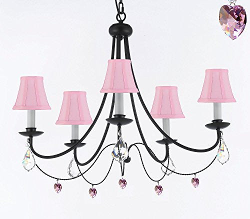 "Empress Crystal (Tm) Wrought Iron Chandelier Lighting H.22.5"" X W.26"" With Pink Shades! Swag Plug In-Chandelier W/ 14' Feet Of Hanging Chain And Wire! - A7-B16/Sc/Pinkshades/B21/403/5"