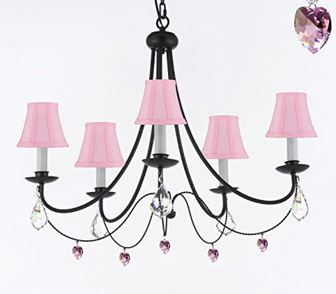 "Empress Crystal (Tm) Wrought Iron Chandelier Lighting H.22.5"" X W.26"" With Heart Crystals And Pink Shades - J10-Sc/Pinkshades/B21/B7/26031/5"