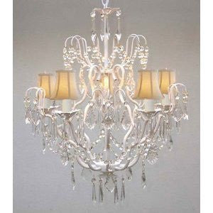 "Swarovski Crystal Trimmed Chandelier New Wrought Iron & Crystal Chandelier With White Shades H27"" X W21"" - J10-Whiteshades/White/26025/5 Sw"