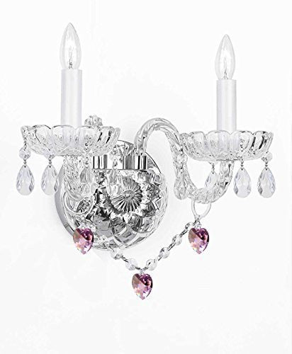 Swarovski Crystal Trimmed Chandelier Wall Sconce Lighting With Crystal Pink Hearts - Perfect For Kids And Girls Bedrooms - G46-B21/2/386 Sw