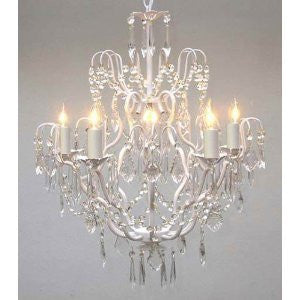 "Swarovski Crystal Trimmed Chandelier Wrought Iron Crystal Chandelier Lighting H27"" X W21"" Swag Plug In-Chandelier W/ 14' Feet Of Hanging Chain And Wire - J10-B17/White/C/26025/5 Sw"