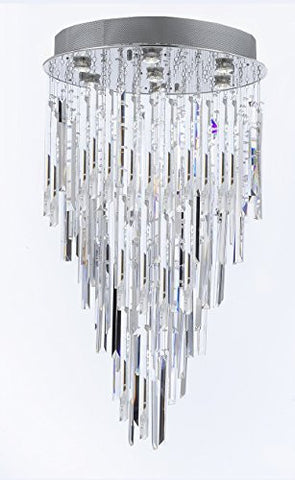 "Modern Contemporary Chandelier ""Rain Drop"" Chandeliers Lighting With Empress Crystal (Tm) Optical-Quality Fringe Prisms H 30"" W 24"" - G93-B28/815/7"