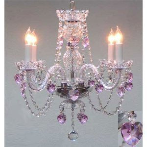 "Swarovski Crystal Trimmed Chandelier! Crystal Chandelier Lighting With Pink Crystal Hearts! H17"" X W17"" Swag Plug In-Chandelier W/ 14' Feet Of Hanging Chain And Wire! - Perfect For Kid'S And Girls Bedroom! - A46-B15/B23/275/4 Sw"