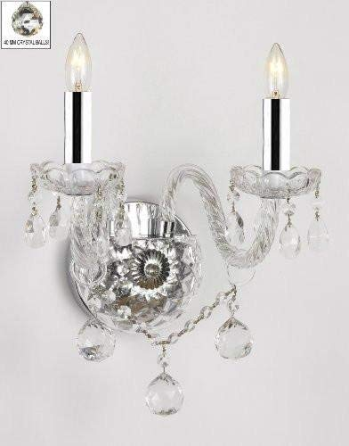 Murano Venetian Style All-Crystal Wall Sconce with Crystal Balls W/Chrome Sleeves! - G46-B43/B6/2/386