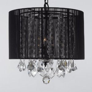 "Crystal Chandelier With Large Black Shade H15"" X W15"" Swag Plug In-Chandelier W/ 14' Feet Of Hanging Chain And Wire - F9-B16/Black/Sm/26029/3"