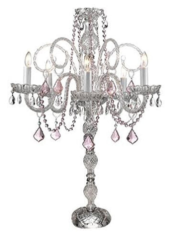 Set Of 10 Wedding Candelabras Candelabra Centerpiece Centerpieces W/Pink Crystal - Great For Special Events - Set Of 10 - G46-B2/545/5/Pinkcrystal- Set Of 10
