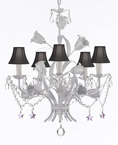 "White Wrought Iron Floral Chandelier Empress Crystal (Tm) Flower Chandeliers Lighting H23"" X W19"" - J10-Sc/Blackshade/B51/B52/White/325/5"