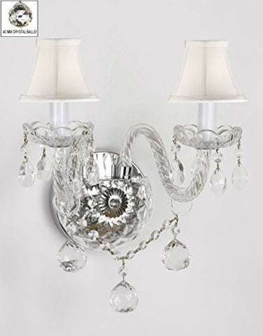 Swarovski Crystal Trimmed Chandelier Murano Venetian Style All-Crystal Wall Sconce With Crystal Balls And - With White Shades - G46-Whiteshades/B6/2/386 Sw
