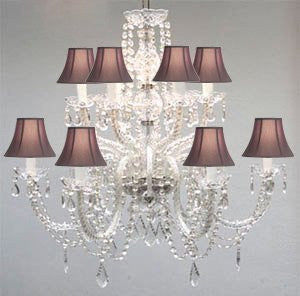 Murano Venetian Style All-Crystal Chandelier With Black Shades - F46-Sc/385/6+6/Black