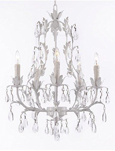 White Wrought Iron Floral Chandelier Lighting Crystal Chandeliers - J10-White/26016/5