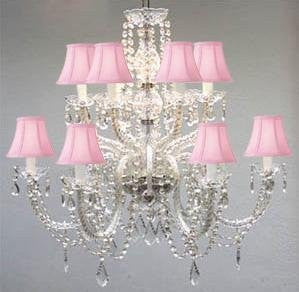Murano Venetian Style All-Crystal Chandelier With Pink Shades - F46-Sc/385/6+6/Pink