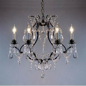 "Swarovski Crystal Trimmed Chandelier Wrought Iron Crystal Chandelier H19"" X W20"". Swag Plug In-Chandelier W/ 14' Feet Of Hanging Chain And Wire - A83-B16/3030/6 Sw"
