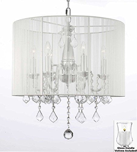 "Crystal Chandelier With Large White Shade And Votive Candls H 19.5"" X W 18.5"" - For Indoor / Outdoor Use Great For Outdoor Events Hang From Trees / Gazebo / Pergola / Porch/Patio/Tent - J10-B31/1126/6"