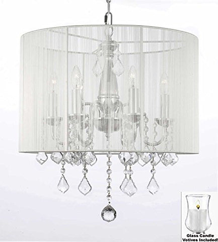"Crystal Chandelier With Large White Shade And Votive Candls! H 19.5"" X W 18.5"" - For Indoor / Outdoor Use! Great For Outdoor Events, Hang From Trees / Gazebo / Pergola / Porch/Patio/Tent! - F7-B31/1126/6"