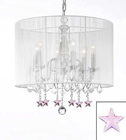 "Crystal Chandelier With Large White Shade And Pink Crystal Stars H 19.5"" X W 18.5"" - J10-B38/1126/6"