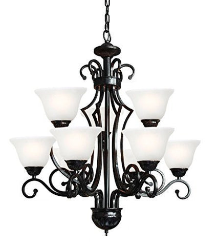 "Wrought Iron Chandelier H30"" W28"" 9 Lights - A84-B22/451/9"
