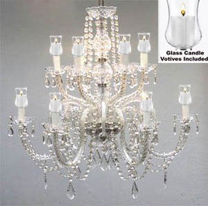 "Crystal Chandelier W/ Candle Votives H.27"" X W.32""- For Indoor / Outdoor Use! Great For Outdoor Events, Hang From Trees / Gazebo / Pergola / Porch / Patio / Tent ! - F46-B31/385/6+6"