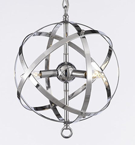 Foucault'S Orb Chandelier Lighting Chrome Finish - G7-2155/3