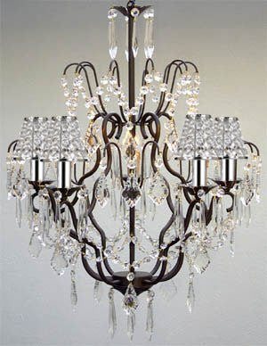 Versailles Wrought Iron Chandelier Empress Crystal (Tm) Chandelier With Crystal Shades And Chrome Sleeves Swag Plug In-Chandelier W/ 14' Feet Of Hanging Chain And Wire - J10-B16/B32/B43/C/26034/5