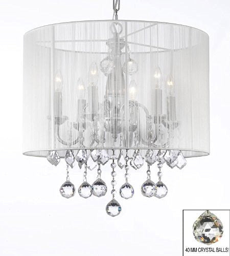 "Crystal Chandelier With Large White Shade & 40Mm Crystal Balls H 19.5"" X W 18.5"" - F7-B6/1126/6"