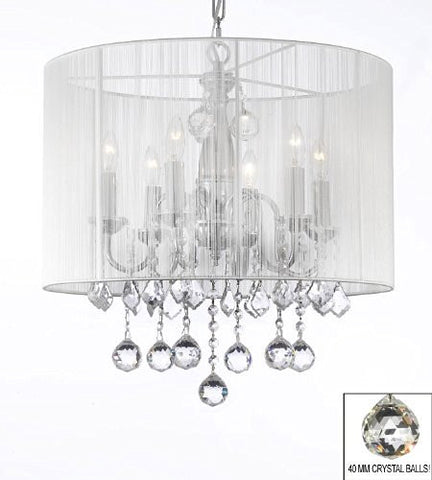 "Crystal Chandelier With Large White Shade & 40Mm Crystal Balls H 19.5"" X W 18.5"" - J10-B6/1126/6"