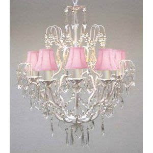 "New Wrought Iron & Crystal Chandelier With Pink Shades H27"" X W21"" - J10-Pinkshades/C/White/26025/5"