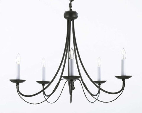 "Wrought Iron Chandelier Lighting H22"" X W26"" - J10-26031/5"