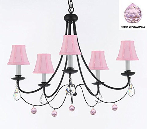 "Empress Crystal (Tm) Wrought Iron Chandelier Lighting H.22.5"" X W.26"" With Balls Crystals And Pink Shades - J10-Sc/Pinkshades/B76/B7/26031/5"