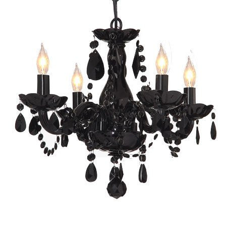 All Jet Black Chandelier Lighting Crystal 17wx13h 4lts Murano - J10-SM/194/4 BLACK