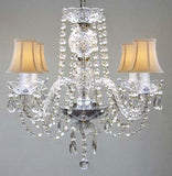 "Swarovski Crystal Trimmed Chandelier All Crystal Chandelier And White Shades H17"" W17"" - G46-Whiteshades/275/4Sw"