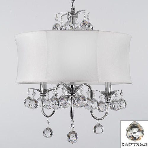 "Modern Contemporary White Drum Shade & Crystal Ceiling Chandelier Pendant Lighting Fixture W 18"" H 22"" - J10-B6/White/26033/3"