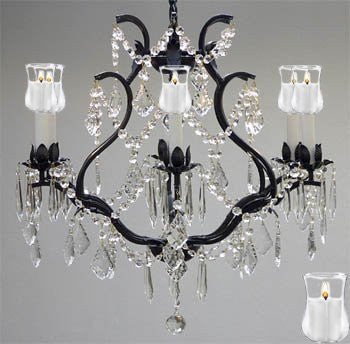 "Wrought Iron Crystal Chandelier Lighting With Candle Votives H 19"" W 20"" - A83-B31/3530/6"