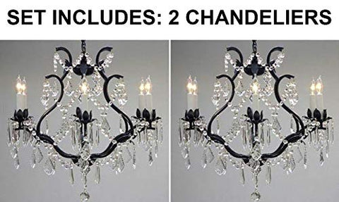 "Set of 2 - Wrought Iron Crystal Chandelier Lighting H 19"" W 20"" - Great for Bedroom, Kitchen, Dining Room, Living Room, and More! - 2EA 3530/6"