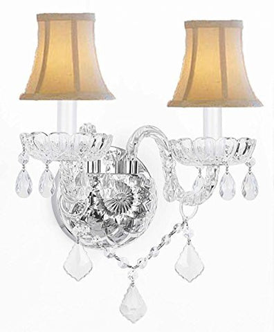 Swarovski Crystal Trimmed Chandelier! Murano Venetian Style Crystal Wall Sconce Lighting With White Shades! - G46-Whiteshades/B12/2/386 Sw