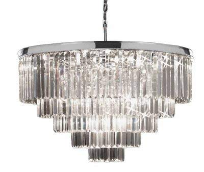 Retro Palladium Crystal Glass Fringe Chandelier Chrome Finish H26 W33.5 - GB104-2164/18B