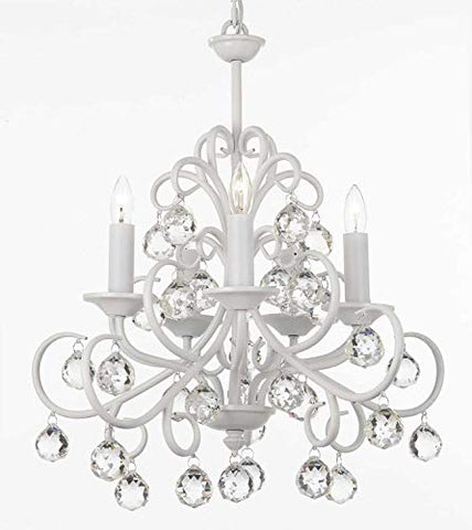 Bellora Iron and Crystal White Chandelier Lighting with Faceted Crystal Balls - J10-26070/5 WHT