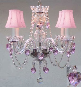 "Swarovski Crystal Trimmed Chandelier Chandelier Lighting W/ Crystal Pink Shades & Hearts H 17"" - Perfect For Kid'S And Girls Bedroom W 17"" - A46-B23/PINKSHADES/275/4 SW"