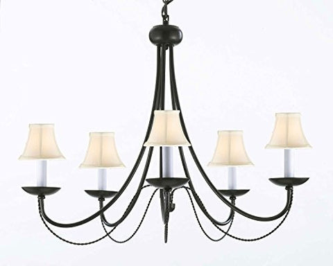 "Wrought Iron Chandelier Lighting With White Shades H22"" X W26"" Swag Plug In-Chandelier W/ 14' Feet Of Hanging Chain And Wire - J10-Whiteshades/B16/26031/5"