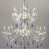 AUTHENTIC ALL CRYSTAL CHANDELIER CHANDELIERS WITH BLUE CRYSTALS WITH CHROME SLEEVES - A46-B43/387/8+4/BLUE