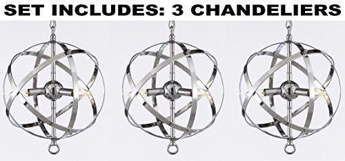 "Set Of 3 Wrought (Tm) Chrome Orb Chandelier H 14.5"" W 11.5"" - G7-2155/3-Set Of 3"