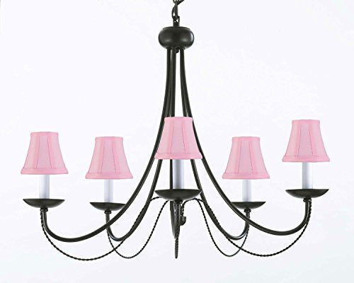 "Wrought Iron Chandelier Lighting With Pink Shades! H22"" X W26"" Swag Plug In-Chandelier W/ 14' Feet Of Hanging Chain And Wire! - A7-Pinkshades/B16/403/5"