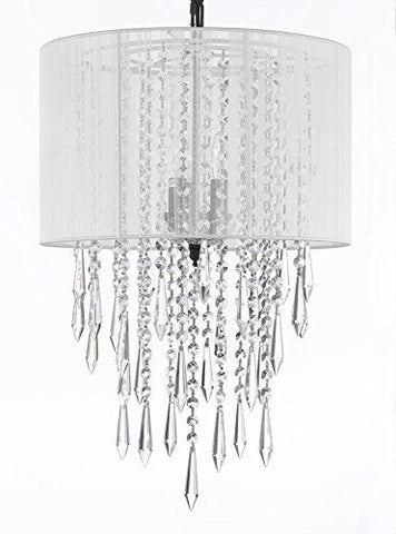 "Crystal Chandelier Empress Crytal (Tm) Chandeliers With Large White Shades H24"" X W15"" - G7-B27/White/3/604/3"