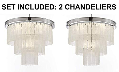 "Set of 2 - Glacier Round Frosted Glass Chandelier Lighting 3 Tier - Great for The Dining Room, Kitchen, Foyer, Entry Way, Living Room, and More! H 22"" W 20"" - 2EA G7-6002/10"