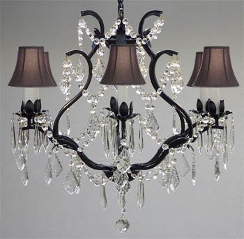 "Wrought Iron Crystal Chandelier Lighting H 19"" W 20"" - With Black Shades - A83-Blackshades/3530/6"