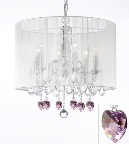 "Crystal Chandelier With Large White Shade And Pink Crystal Hearts H 19.5"" X W 18.5"" - Perfect For Kids' And Girls Bedrooms - F7-B21/1126/6"
