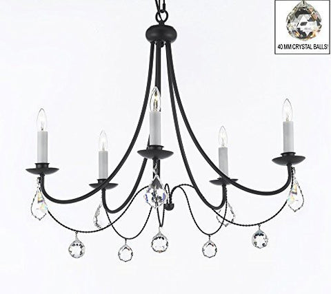 "Empress Crystal (Tm) Wrought Iron Chandelier Lighting H.22.5"" X W.26"" With Crystal Balls Swag Plug In-Chandelier W/ 14' Feet Of Hanging Chain And Wire - J10-B16/B7/B6/26031/5"